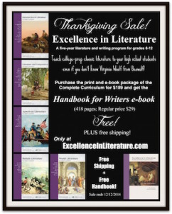Excellence in Literature Complete Curriculum sale: Get Handbook for Writers free and free shipping until 12/12/14.
